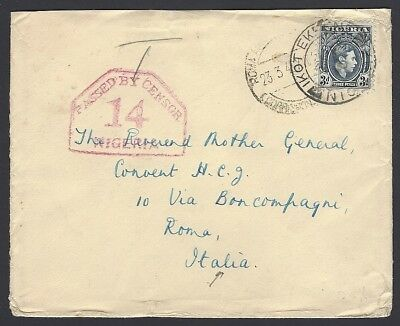 Nigeria PASSED BY CENSOR 14 NIGERIA on 1940 cover IKOT EKPENE via ABA to Italy
