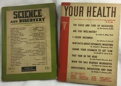 RARE Science and Discovery Magazine NOVEMBER 1940 & Your Health Magazine 1944