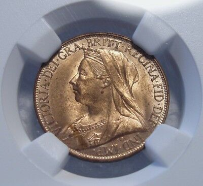 1895 Great Britain Farthing. NGC MS 64 RD. Full Red and Quite Nice.