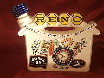 1968 Ezra Brooks Whiskey Decanter Reno Good Luck - Good Health - Good Cheer