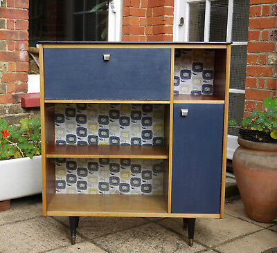 Mid 20th century blue painted cabinet cupboard bureau with sliding glass doors