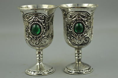 China Style Collectible Tibet Silver Carve Flower Inlay Bead Rare Pair Wine Cup