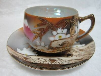 Tea Cup & Saucer Mother Of Pearl Made In Japan Hand Painted Raised Retro Design