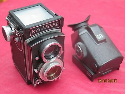 Very unusual Rolleicord Vb White face + metred prism finder. Near mint condition