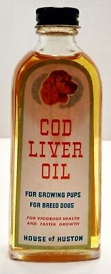 Vintage Cod Liver Oil Bottle For Pups And Breed Dogs Label ,am4357
