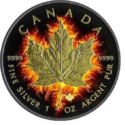 2014 1 oz $5 Fine Silver Coin  Canadian-Burning Maple Leaf