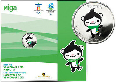25 Cent Canada Vancouver 2010 Olympic Mascot Coloured Coin and Folder - Miga