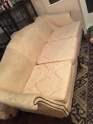 Three seater, cream brocade sofa, vintage, claw feet, sprung, re-upholstered