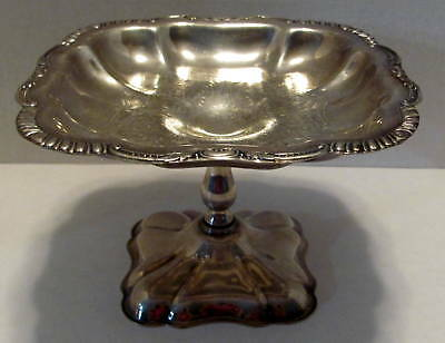 "Vintage Canterbury Silverplate Footed Compote Bowl Candy Dish Etched 4.5"" tall"