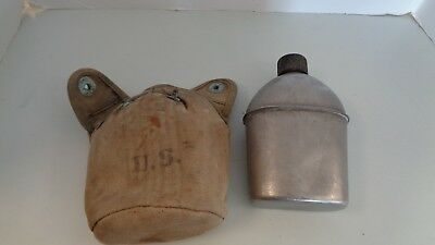 """WWII US Army Canteen Cover Marked """"JEFF Q.M.D. 1943  and Vollrati 1944 Canteen"""