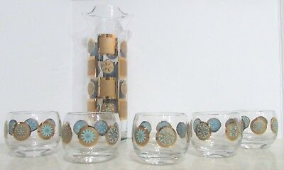 Culver Gold Turquoise Double Lip Martini Cocktail Pitcher 5 Roly Poly Glasses