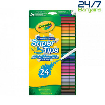 Crayola Colouring Supertips Pack Of 24 Washable Felt Tip Pens Markers Felt Tips