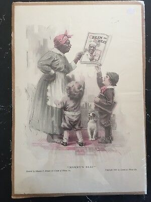 Vintage 1920 CREAM OF WHEAT Print Ad ~ Mammy's Beau ~ Edward V. Brewer