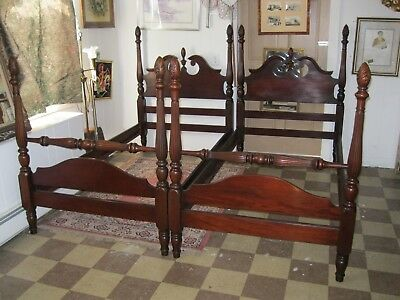 Mahogany 4 Poster Twin beds with Headboards, Footboards, Rails, Slats - #00406