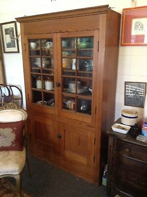 Antique Country Yellow Pine Cupboard old original glass