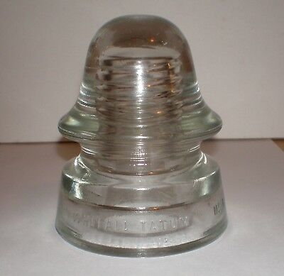 Vintage WHITALL TATUM No. 4 Glass Insulator - Clear 4 inch