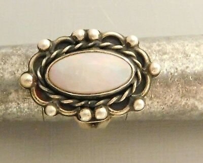Antique Small Size Lady'S Silver Color Ring With Opal(?) Setting. Not Marked.
