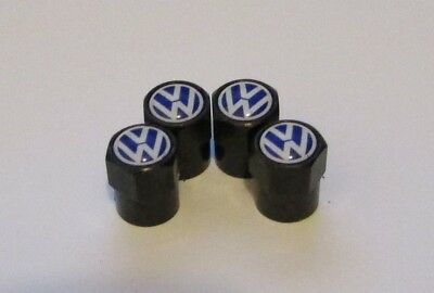 VW Carbon Black Blue Logo Car Tyre Alloy Wheel Valve Dust Caps x4 Golf Polo DUB