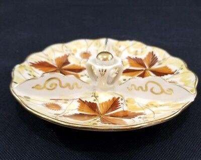 VINTAGE Hand Painted FLORA GOUDA Holland Dutch Pottery Dish Tray Platter Orange