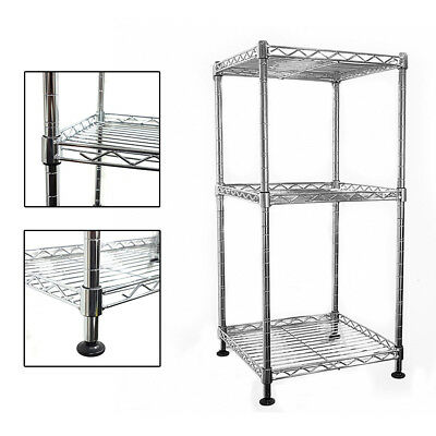 64x30x30cm Real Chrome Wire Rack Metal Steel Kitchen Garage Shelving Racks UKDC