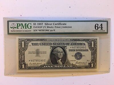 1957 C $1 Silver Certificate Star Note Fr#1619* PMG 64 Choice Uncirculated