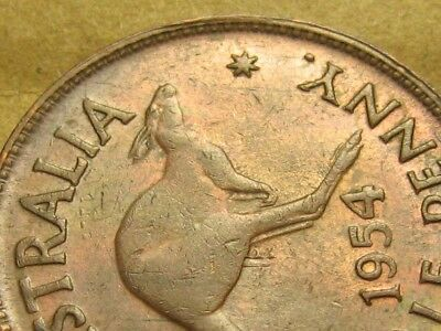 1954 Half Penny - Raised Denticle Patterns Above and Below Roo. Very Scarce