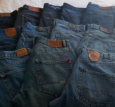 LOT OF 12 Mens Baggy Designer Jeans Sz 30/32/34: Nautica/Tommy/Ecko/Mecca/Polo