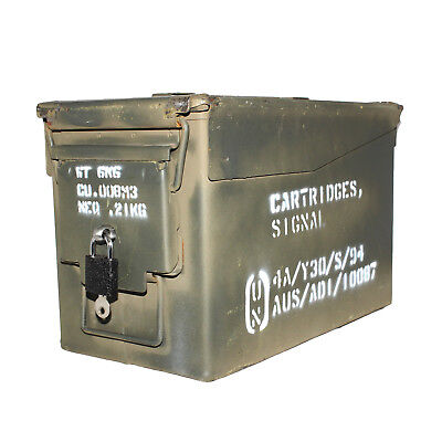"50 CAL ""LOCKABLE"" Ammo Box Ammunition Steel Box Tool Box Ex Army Used"