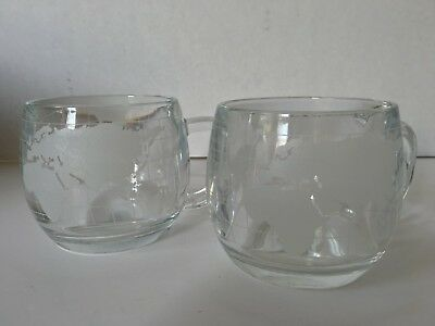 NESTLE Etched World Map Vintage Glass Mugs 2