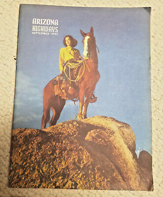 Vintage Arizona Highways Magazine Sept 1947 Horse And Rider Very Nice Condition