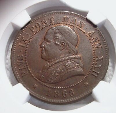 1868R XXII Papal States (Italy) 4 Soldi. NGC MS 64 BN.