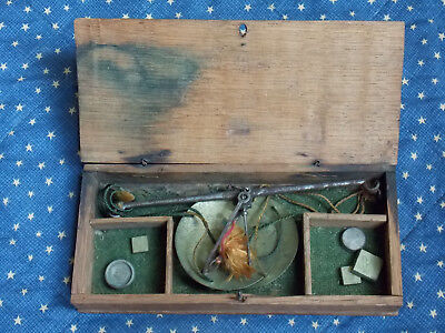 Civil War era medical,apothecary or gold rush scale. Oak box, weights. Nice