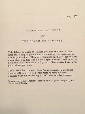 Vintage Seven-Up 7-Up Employee Policies Manual 1957