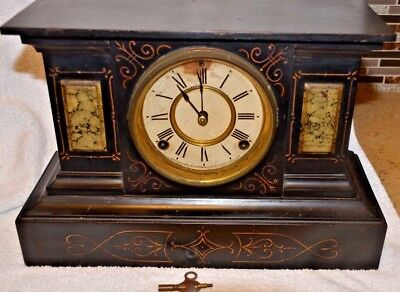 Antique 1882 Ansonia Iron Mantle Clock with marble inserts New  York USA