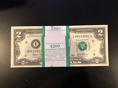 2003 Two Dollar ($2) Bill Uncirculated Consecutive Sequential BEP Wrap - 1 Note