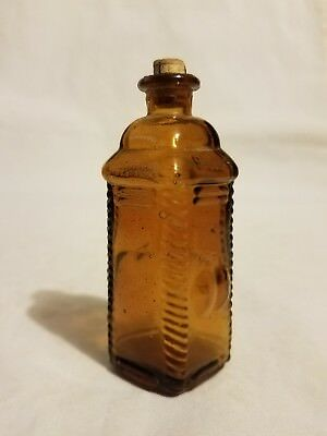 "Vintage 3"" Wheaton Square Amber Brown Glass Bottle Berring's Apple Bitters Phila"