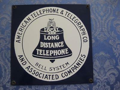 American Telephone & Telegraph Co. Bell Systems AT&T Blue Advertising Metal Sign
