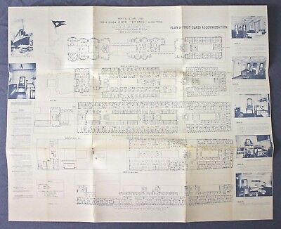 1911 White Star Line RMS TITANIC Print Plan First Class Accommodations Peterman