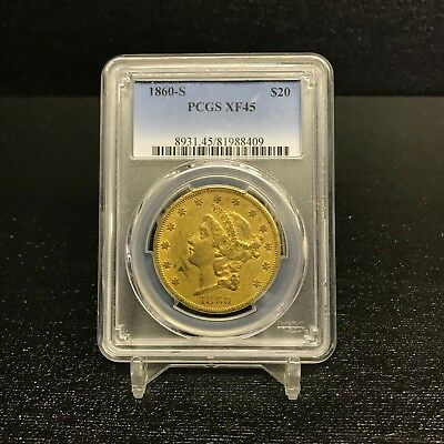 "1860-S $20 Type One Gold Double Eagle PCGS XF 45 San Francisco ""Civil War"" RARE"