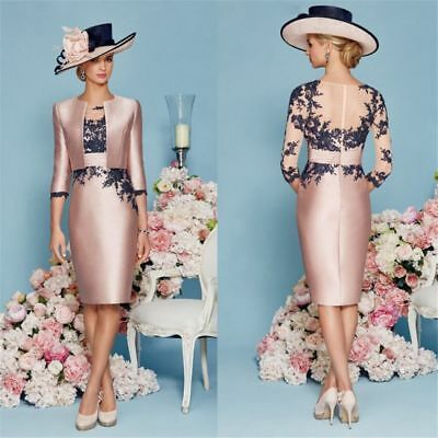 2018 Pink 2 Piece Wedding Mother Of The Bride Dresses Outfits Lace Satin US 24W