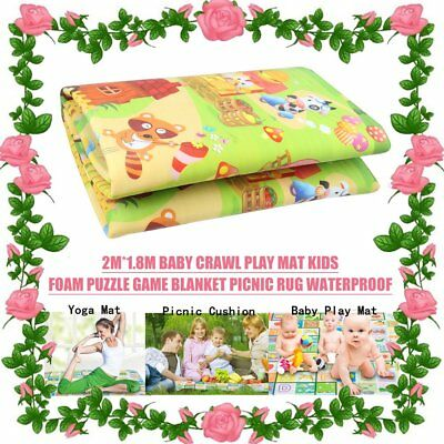 Baby Crawl Play Mat Kids Foam Puzzle Game Blanket Picnic Rug Waterproof 2M*1.8M