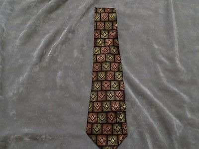 Autumn Color Necktie Square Compass Masonic Blue Lodge Freemason Fraternity NEW!