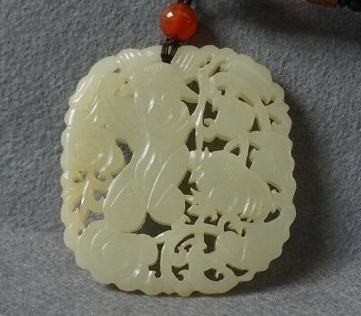 Chinese Exquisite Hand-carved people carving Hetian jade pendant