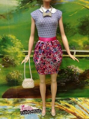 Barbie~Fashionistas~Blue/pink Floral Dress~Pearl Necklace Purse And Shoes~2017