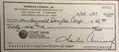 "Astronaut Charles ""Pete"" Conrad, Signed Cancelled Check To McDonnell Douglas"
