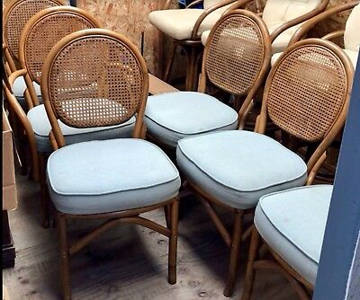 Vintage Rattan and Cane Dining Set 6 Chairs & Table w/ 2 Leaves,,wicker,bamboo