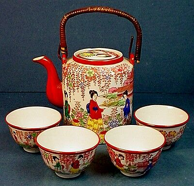 Antique Japanese Geisha Girl Export Porcelain Teapot & Teacups