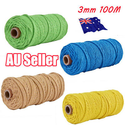 3mm 100% Natural Coloful Cotton Twisted Cord Craft Macrame Artisan String HOT EA