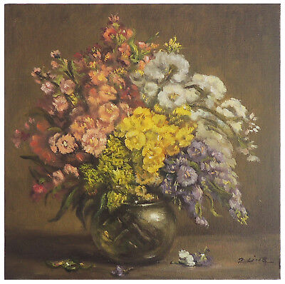 "Original Vintage Oil Painting Still Life Realism Floral in Glass 12""x10"" Signed"