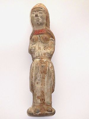Ancient Chinese Tang Dynasty Painted Terracota Pottery Warrior Statue  - 618 AD